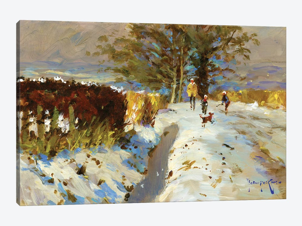 Snow On The Back Lane by John Haskins 1-piece Canvas Print