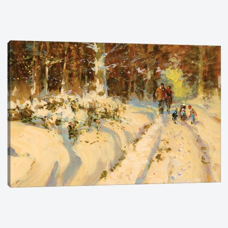Sunshine And Snow A Walk In The Woods Canvas Print #JHS84} by John Haskins Art Print