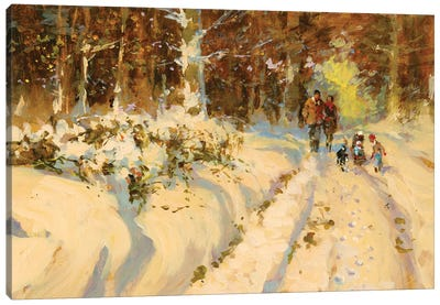 Sunshine And Snow A Walk In The Woods Canvas Art Print