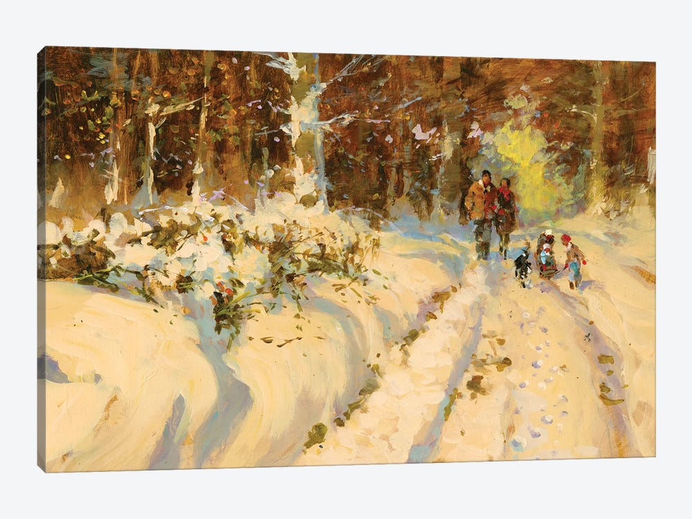Sunshine And Snow A Walk In The Woods by John Haskins 1-piece Canvas Print