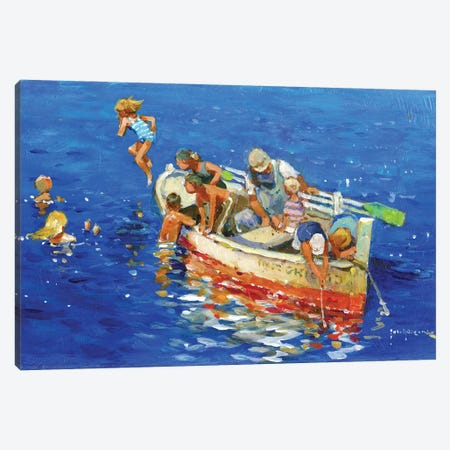 Swimming Off The Little Boat Canvas Print #JHS86} by John Haskins Art Print