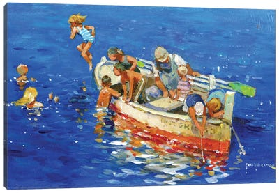 Swimming Off The Little Boat Canvas Art Print