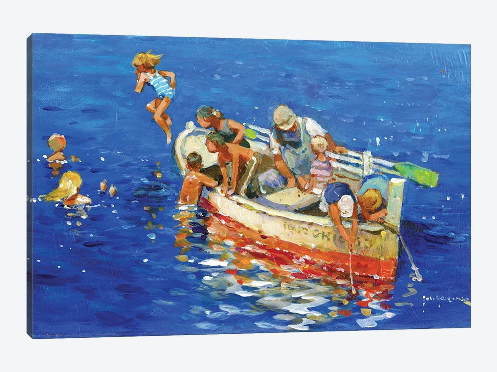 Swimming Off The Little Boat by John Haskins 1-piece Canvas Art Print
