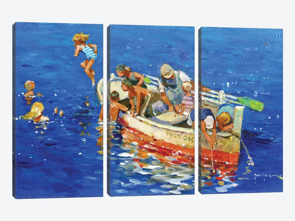 Swimming Off The Little Boat by John Haskins 3-piece Canvas Art Print