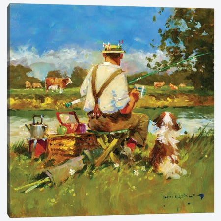 Tea Break On The Ivel Canvas Print #JHS87} by John Haskins Canvas Art Print