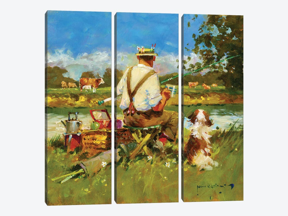 Tea Break On The Ivel by John Haskins 3-piece Canvas Wall Art