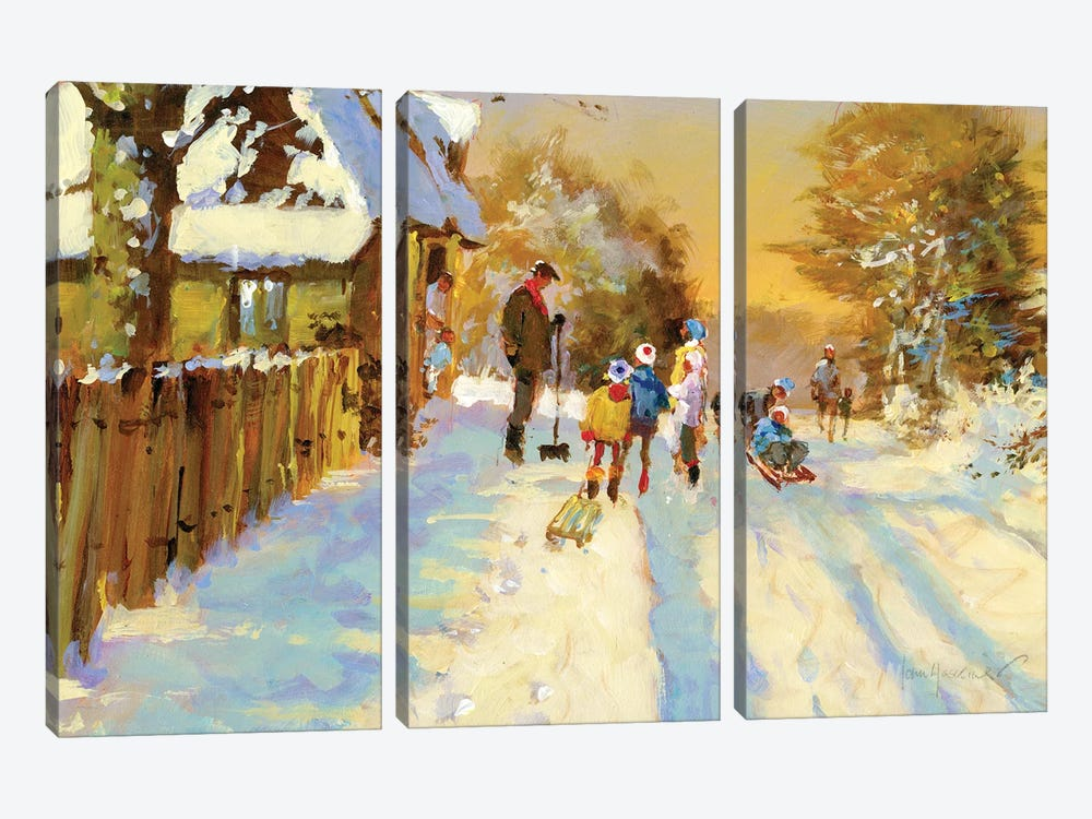 The Return Of The Winter Sports Team by John Haskins 3-piece Canvas Art