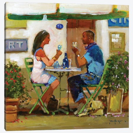 Working Lunch Drinks Canvas Print #JHS91} by John Haskins Art Print