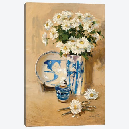 Daisies Canvas Print #JHS97} by John Haskins Canvas Artwork