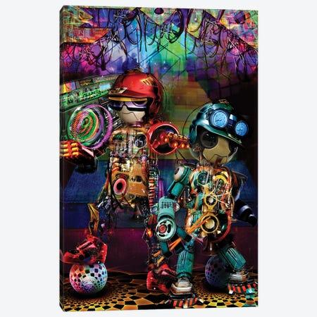 Boombox Robots Canvas Print #JIE10} by Jumbie Canvas Artwork