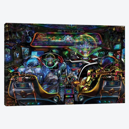 Spaceship Canvas Print #JIE66} by Jumbie Canvas Artwork