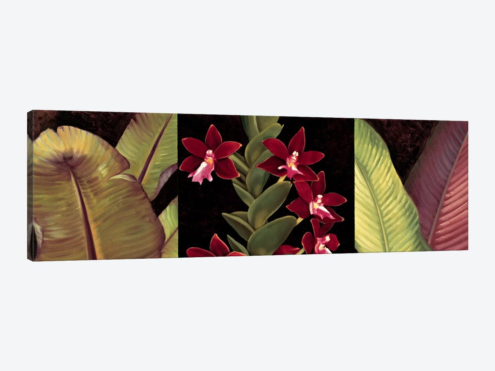 Red Orchids And Palm Leaves by Rodolfo Jimenez 1-piece Canvas Wall Art