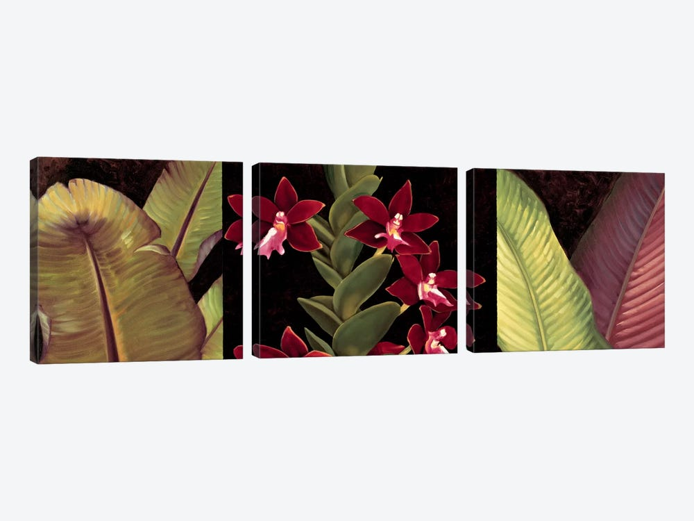 Red Orchids And Palm Leaves by Rodolfo Jimenez 3-piece Canvas Art