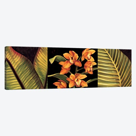 Orange Orchids And Palm Leaves Canvas Print #JIM8} by Rodolfo Jimenez Art Print