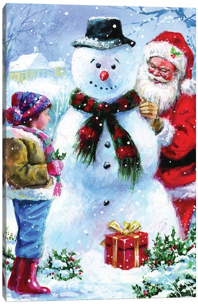 Joyful Santa Canvas Art Print