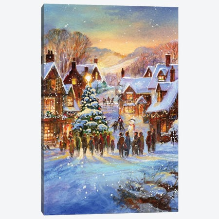Snow Village Canvas Print #JIT3} by Jim Mitchell Canvas Print