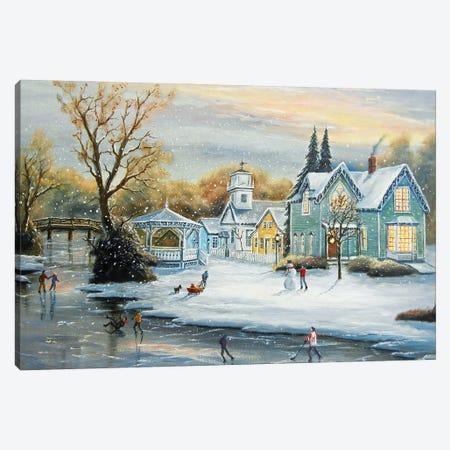 Mill Race Winter Canvas Print #JIW20} by Jim Williams Canvas Art Print