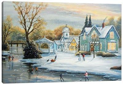 Mill Race Winter Canvas Art Print