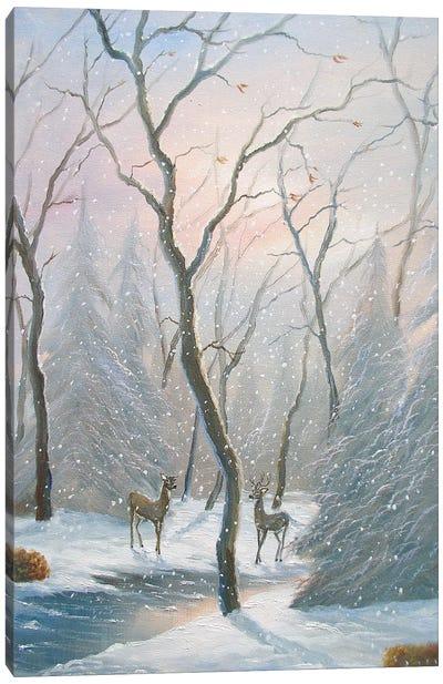 Misty Forest Deer Canvas Art Print