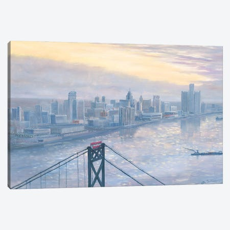 Riverfront at Daybreak Canvas Print #JIW27} by Jim Williams Canvas Wall Art