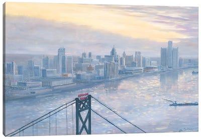 Riverfront at Daybreak Canvas Art Print