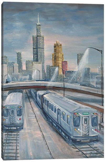 Twilight Trains Canvas Art Print