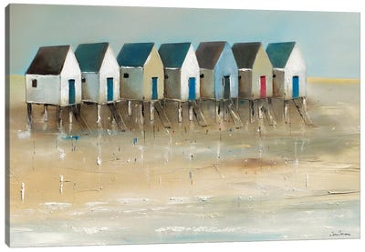Beach Cabins I Canvas Art Print