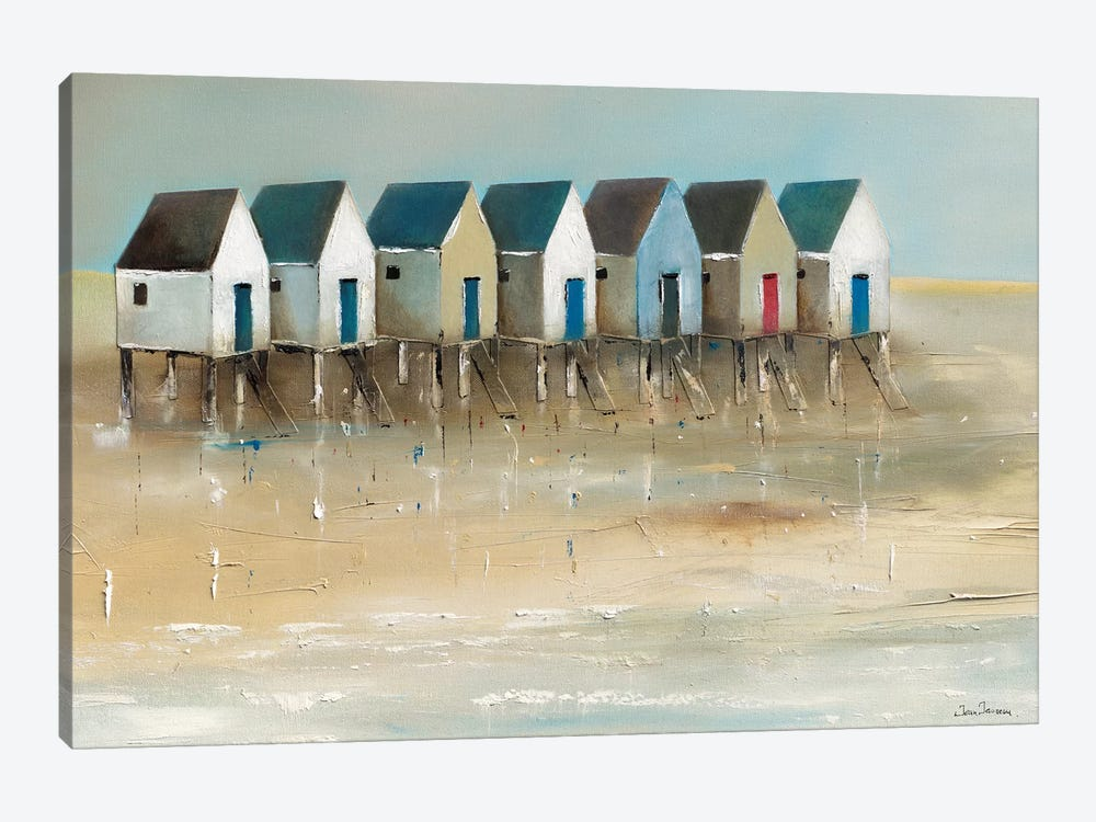 Beach Cabins I by Jean Jauneau 1-piece Canvas Artwork
