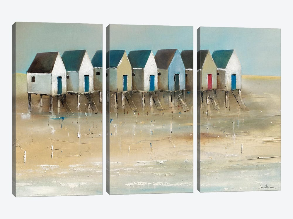 Beach Cabins I by Jean Jauneau 3-piece Canvas Artwork