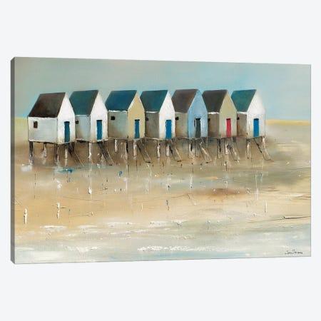 Beach Cabins I Canvas Print #JJA1} by Jean Jauneau Canvas Art