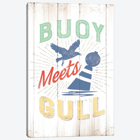 Buoy Meets Gull Canvas Print #JJB13} by JJ Brando Canvas Art Print