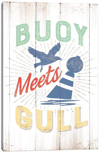 Buoy Meets Gull Canvas Art Print