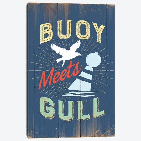 Buoy Meets Gull In Blue 3-Piece Canvas #JJB14} by JJ Brando Canvas Art