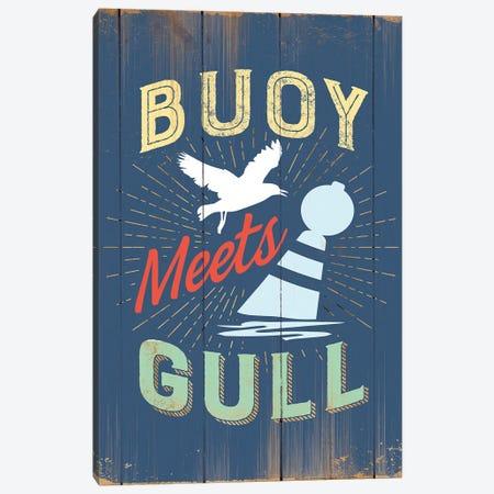 Buoy Meets Gull In Blue Canvas Print #JJB14} by JJ Brando Canvas Art