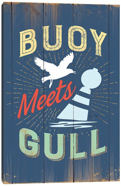 Buoy Meets Gull In Blue Canvas Art Print