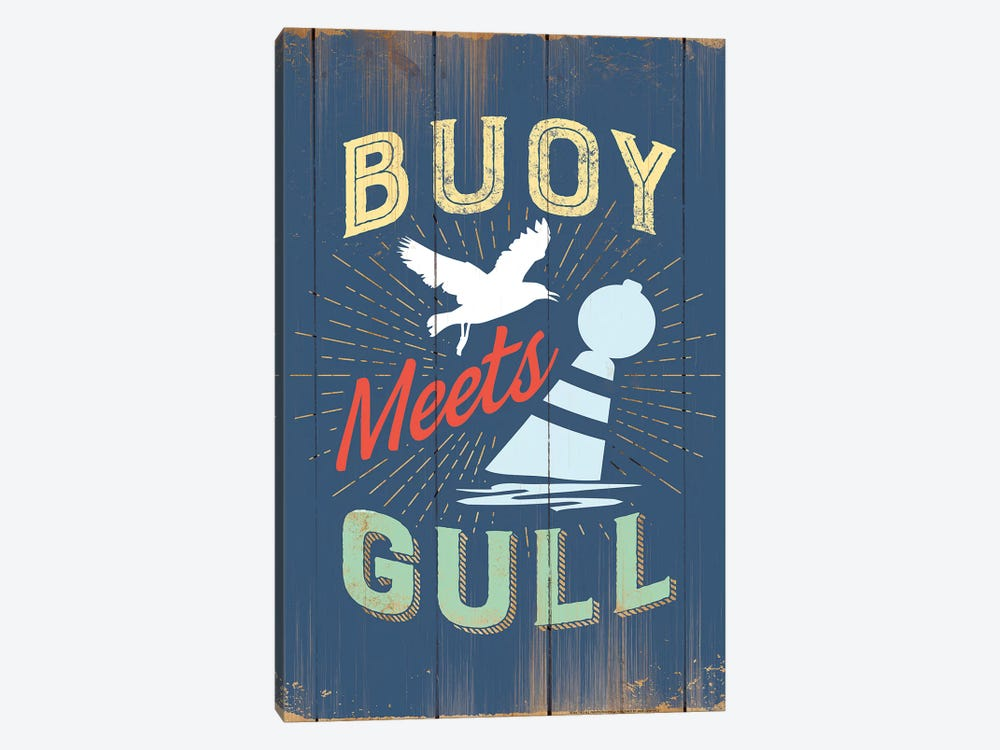 Buoy Meets Gull In Blue by JJ Brando 1-piece Canvas Wall Art
