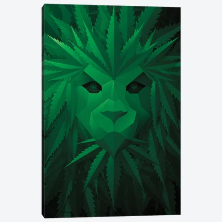 Green Lion Canvas Print #JJB27} by JJ Brando Canvas Print
