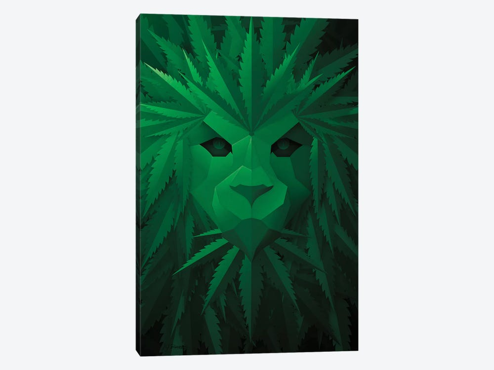 Green Lion by JJ Brando 1-piece Canvas Wall Art