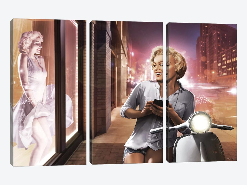 Marilyn Shop Window by JJ Brando 3-piece Canvas Art Print