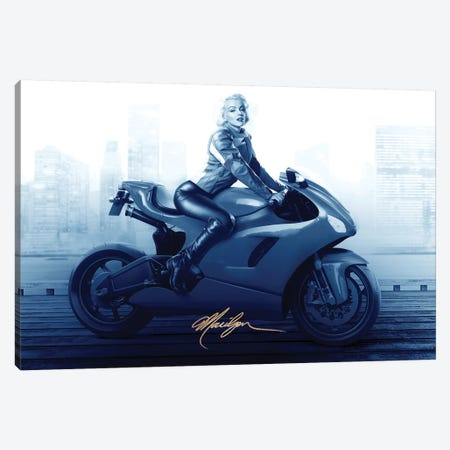 Marilyn's Ride In Blue Canvas Print #JJB44} by JJ Brando Art Print