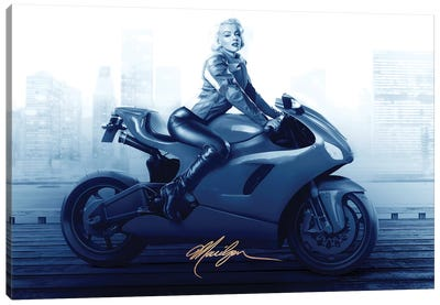 Marilyn's Ride In Blue Canvas Art Print