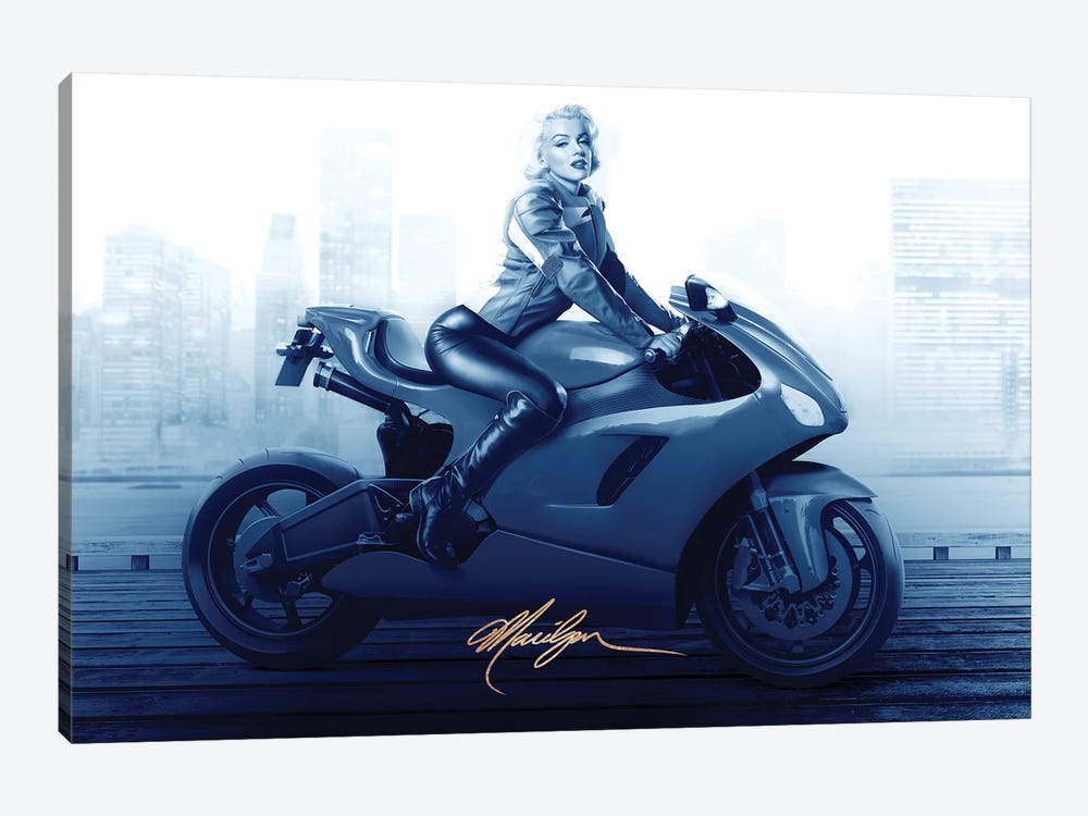 Marilyn's Ride In Blue by JJ Brando 1-piece Canvas Art Print