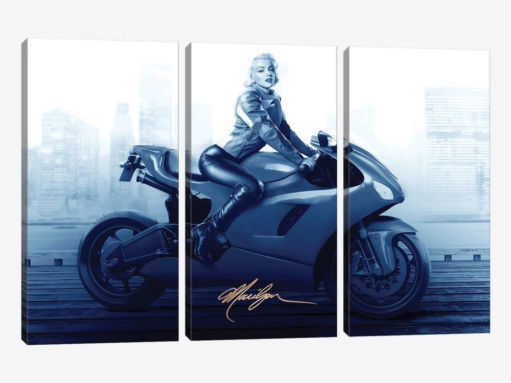 Marilyn's Ride In Blue by JJ Brando 3-piece Art Print