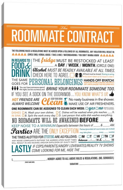 Roommate Contract Canvas Art Print
