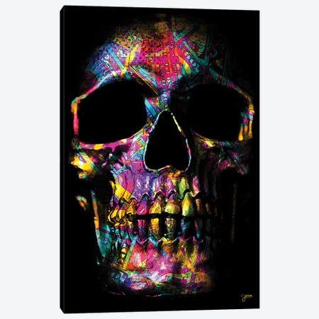 Pink Money Skull Canvas Print #JJH22} by Jesse Johnson Canvas Artwork