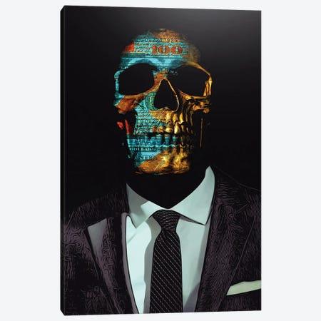 Suited Skull Canvas Print #JJH3} by Jesse Johnson Art Print