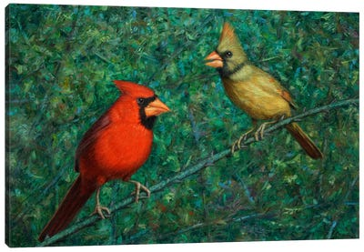 Cardinal Couple Canvas Art Print