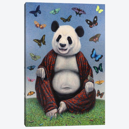 Panda Buddha Canvas Print #JJN30} by James W. Johnson Canvas Print