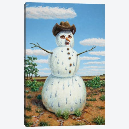 Snowman In Texas Canvas Print #JJN40} by James W. Johnson Canvas Art