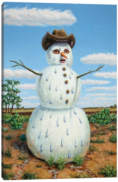 Snowman In Texas Canvas Art Print